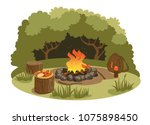 Picnic at the campfire in the...