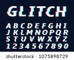 glitch alphabet letters.... | Shutterstock . vector #1075898729