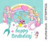 template birhday card with... | Shutterstock .eps vector #1075899026