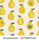 seamless pattern with pears and ... | Shutterstock .eps vector #1075899143