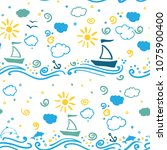 seamless pattern on a marine... | Shutterstock .eps vector #1075900400