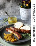 homemade meat sausages with... | Shutterstock . vector #1075903238