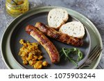 homemade meat sausages with... | Shutterstock . vector #1075903244