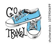 hand drawn blue sneakers with... | Shutterstock .eps vector #1075904699