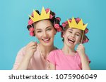 funny family  mother and her... | Shutterstock . vector #1075906049