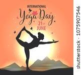 world yoga day vector...   Shutterstock .eps vector #1075907546