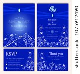 vector set of invitation cards... | Shutterstock .eps vector #1075912490