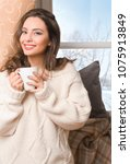 portrait of  a brunette winter... | Shutterstock . vector #1075913849