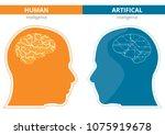 humans vs robots. ai artificial ... | Shutterstock .eps vector #1075919678