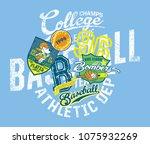 grunge baseball kids team ... | Shutterstock .eps vector #1075932269