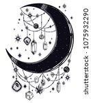 crescent boho moon with... | Shutterstock .eps vector #1075932290