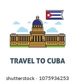 travel to cuba poster with... | Shutterstock .eps vector #1075936253