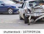 car crash accident on street ... | Shutterstock . vector #1075939136