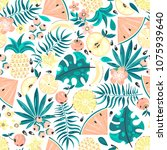 seamless pattern with tropical... | Shutterstock .eps vector #1075939640