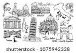 italy landmark vector sketch...   Shutterstock .eps vector #1075942328