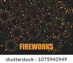 festive fireworks background....   Shutterstock .eps vector #1075942949