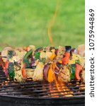 barbecue garden grill with... | Shutterstock . vector #1075944869
