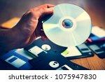 disks and floppy disks | Shutterstock . vector #1075947830