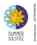 summer solstice. smiling sun...   Shutterstock .eps vector #1075948250