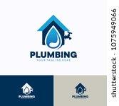 plumbing service logo template... | Shutterstock .eps vector #1075949066