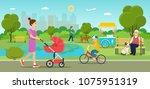 vector summertime flat... | Shutterstock .eps vector #1075951319