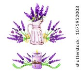 hand drawn watercolor provence...   Shutterstock . vector #1075952003
