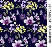 floral seamless pattern with... | Shutterstock .eps vector #1075952489