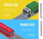 city traffic flyers with bus... | Shutterstock .eps vector #1075955594