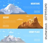 mountain landscape flyers with... | Shutterstock .eps vector #1075955690