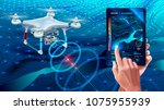 drone or quadcopter with camera ... | Shutterstock . vector #1075955939