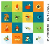 set of flat autumn icons.... | Shutterstock .eps vector #1075964033
