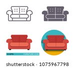 vector icons of the sofa.... | Shutterstock .eps vector #1075967798