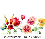 template for greeting card with ... | Shutterstock . vector #1075973093