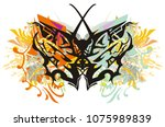 colorful dragon butterfly wings ... | Shutterstock .eps vector #1075989839