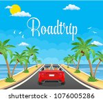 highway drive with beautiful... | Shutterstock .eps vector #1076005286
