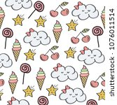 doodle seamless pattern with...   Shutterstock .eps vector #1076011514