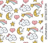 doodle seamless pattern with...   Shutterstock .eps vector #1076013734