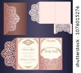laser cut wedding invitation... | Shutterstock .eps vector #1076015276