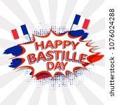 happy bastille day text on pop... | Shutterstock .eps vector #1076024288