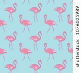 pattern with a rose flamingo on ... | Shutterstock . vector #1076025989