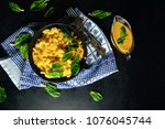vegan mac and cheese | Shutterstock . vector #1076045744