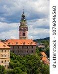 view of tower of cesky krumlov... | Shutterstock . vector #1076046560