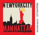 manhattan  new york city ...   Shutterstock .eps vector #1076049986