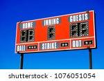 Small photo of Baseball scoreboard with details of score ball strike innings