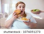 junk food. fat young woman... | Shutterstock . vector #1076051273