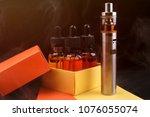 electronic cigarette and vape... | Shutterstock . vector #1076055074
