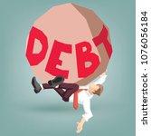 debt falling and drop over... | Shutterstock .eps vector #1076056184