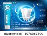 whitening toothpaste ad poster. ... | Shutterstock .eps vector #1076061500