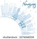 outline nanjing china skyline... | Shutterstock .eps vector #1076068334