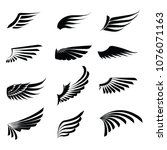 vintage wings icon set isolated ... | Shutterstock .eps vector #1076071163